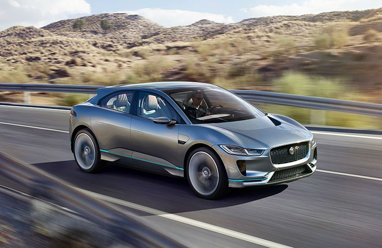 Silver Jaguar I-PACE Front Exterior on Highway