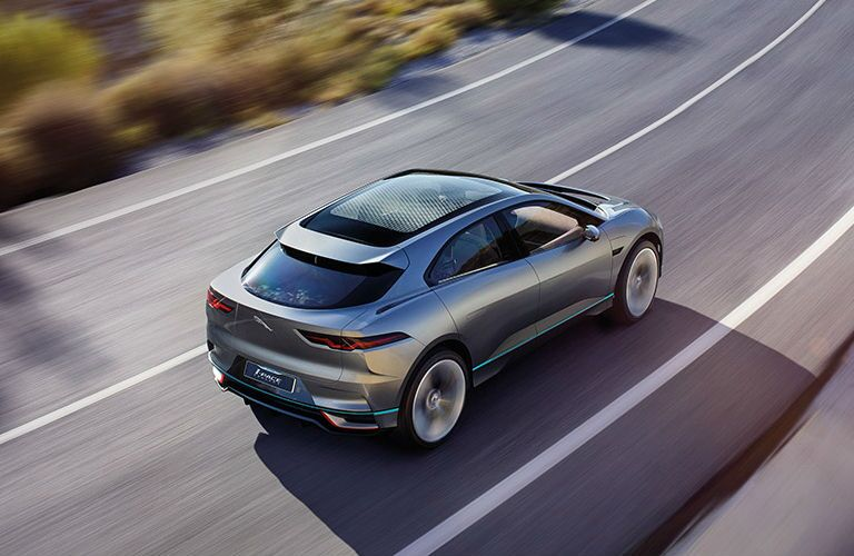 Overhead View of Silver Jaguar I-PACE