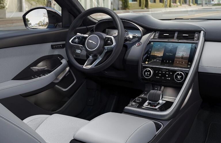 Steering wheel and center console in the 2021 Jaguar E-PACE
