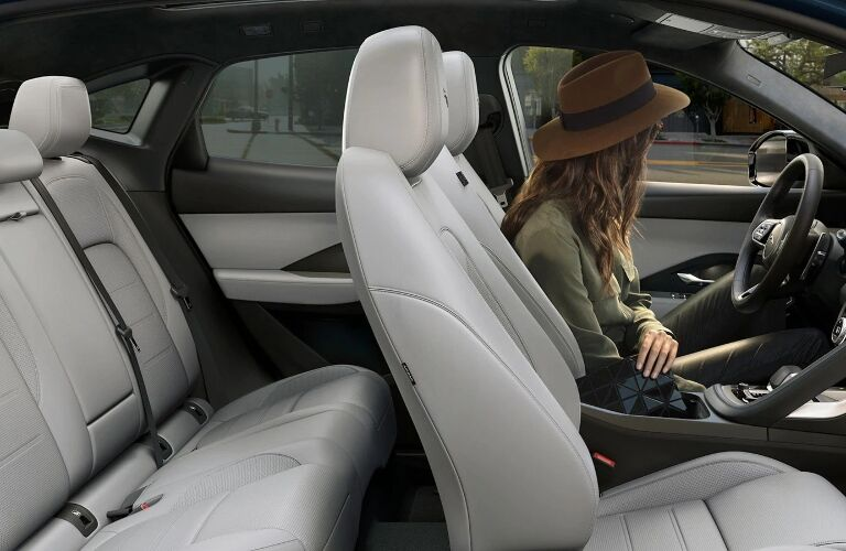 Woman behind the wheel of the 2021 Jaguar E-PACE