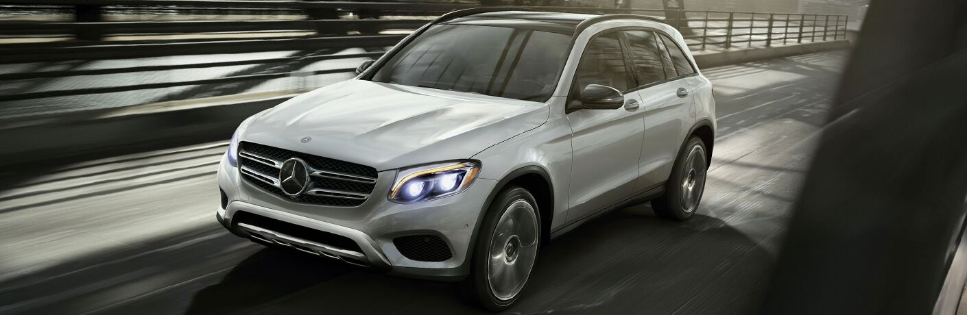 2018 GLC SUV in White Front Side View