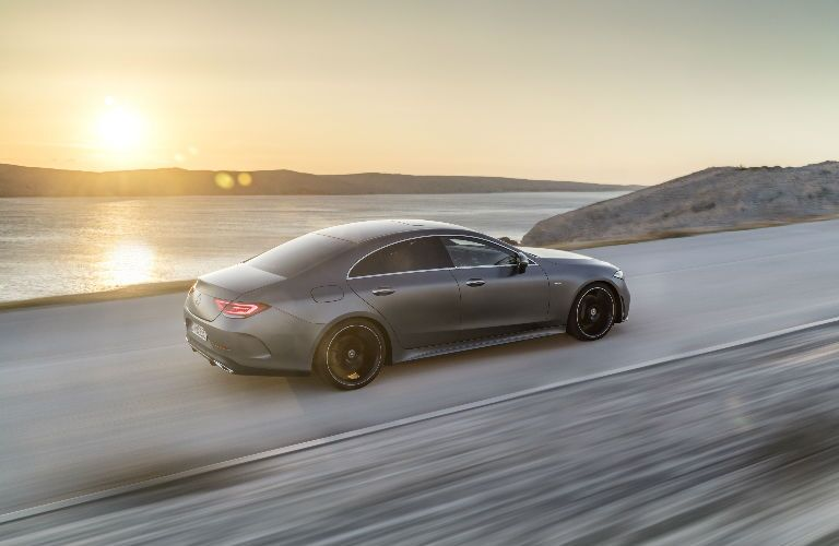 2019 CLS Coupe on a road against a sunset