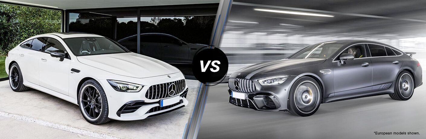 2019 MB AMG GT 53 exterior front fascia and passenger side vs 2019 MB AMG GT 63 exterior front fascia and drivers side