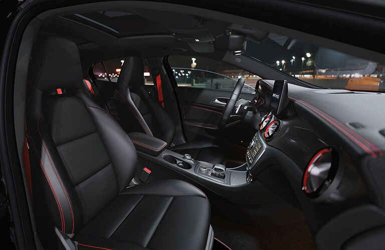 2019 MB GLA interior front cabin side view of seats steering wheel and dashboard