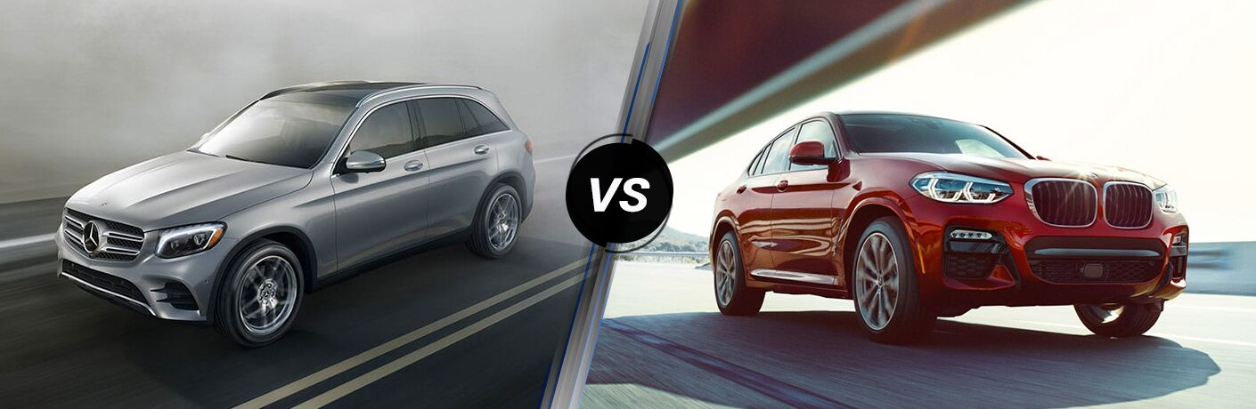 2019 MB GLC 300 exterior front fascia and drivers side vs 2019 BMW X4 exterior front fascia and passenger side