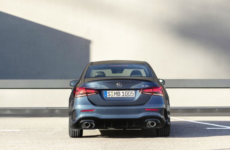 2020 MB AMG A-Class exterior back fascia in empty parking lot
