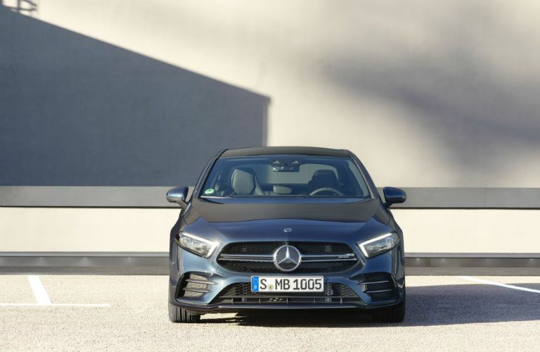 2020 MB AMG A-Class exterior front fascia in empty parking lot