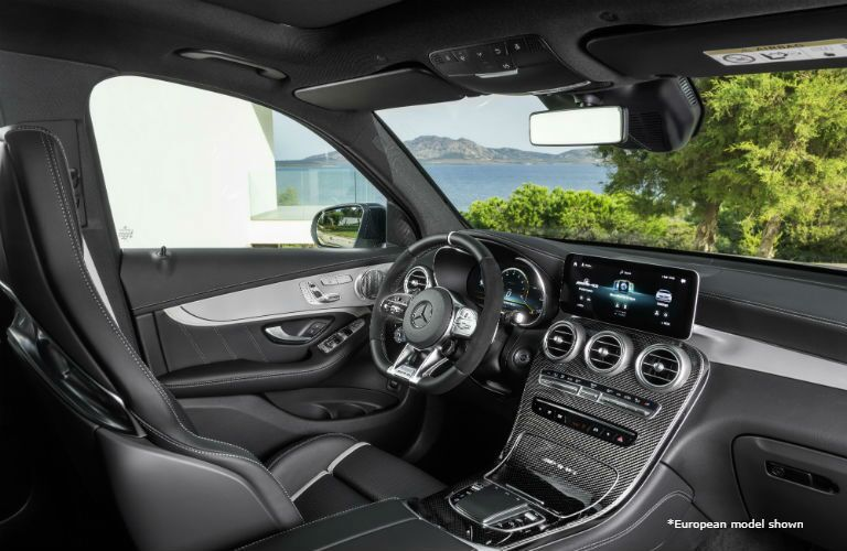 2020 MB AMG GLC interior front cabin steering wheel touchscreen seats and partial dashboard