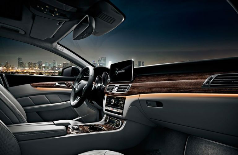 2015 Mercedes-Benz CLS550 Gray Leather Interior with Wood Trim