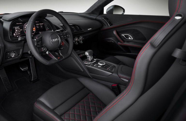Red and black 2017 Audi R8 V10 Plus interior