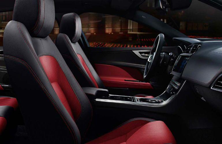 2017 Jaguar XE Two Tone Black and Red Leather Interior