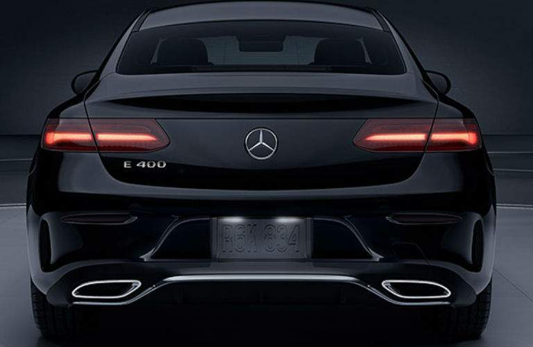 2018 E-Class Coupe Rearview in Black