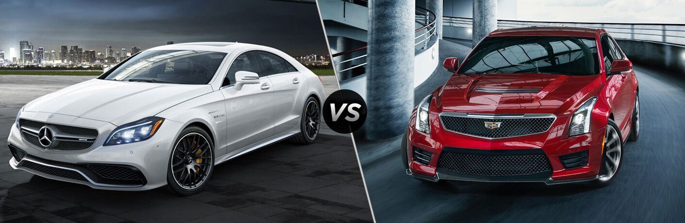 2018 Mercedes-AMG CLS Coupe in White vs 2018 Cadillac ATS-V Coupe in Red