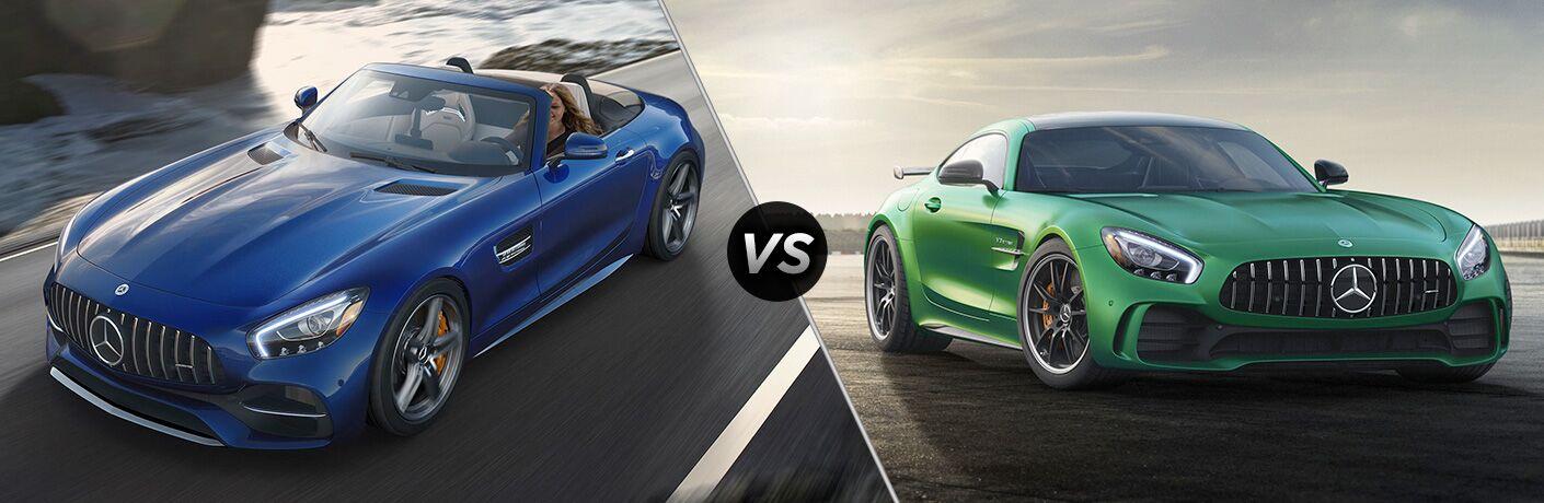 2018 AMG GT Roadster in Blue vs 2018 AMG GT R in Green