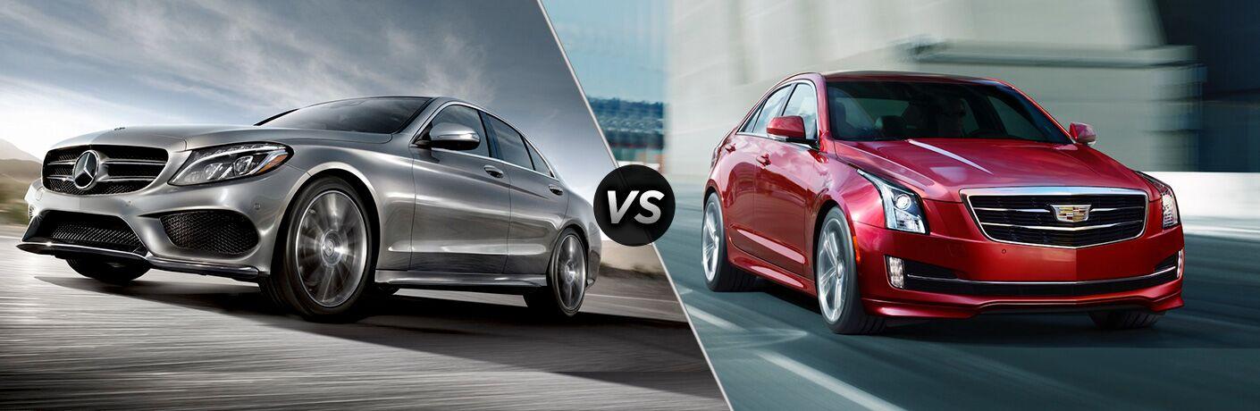 2018 C-Class Sedan in Silver vs 2018 Cadillac ATS Sedan in Red