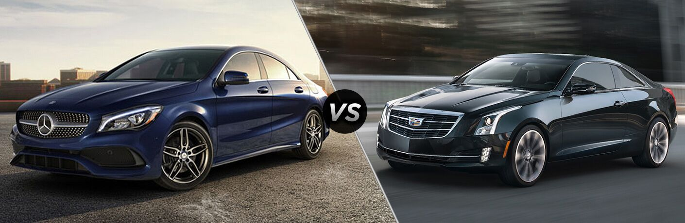 2018 Mercedes-Benz CLA Coupe in Blue vs 2018 Cadillac ATS Coupe in Navy Blue