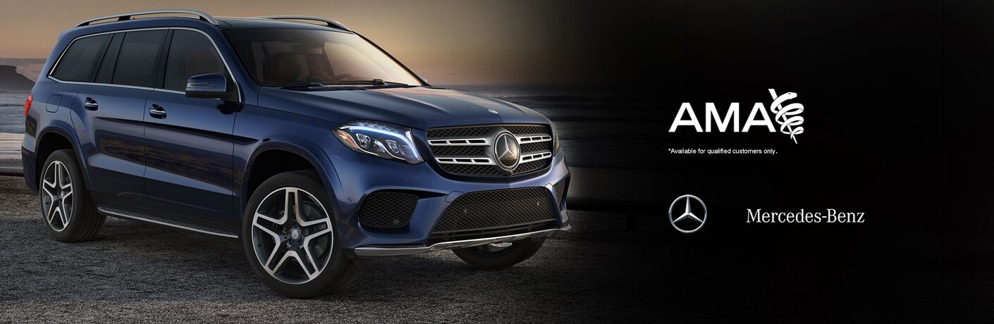 2018 GLE SUV in Blue with Mercedes-Benz and AMA Logos