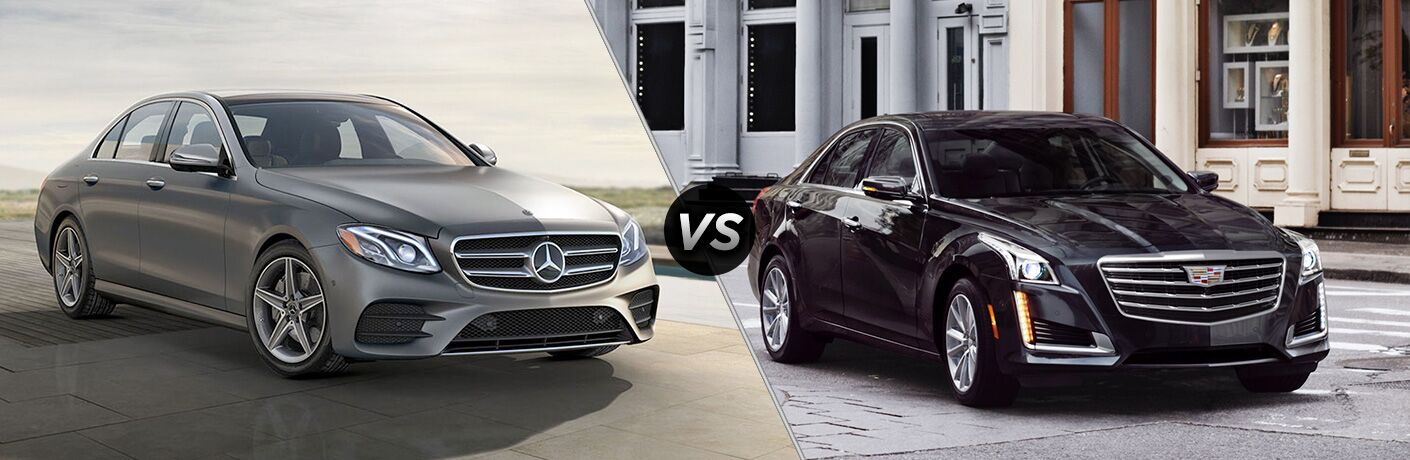 2018 E-Class Sedan in Silver vs 2018 Cadillac CTS Sedan in Black