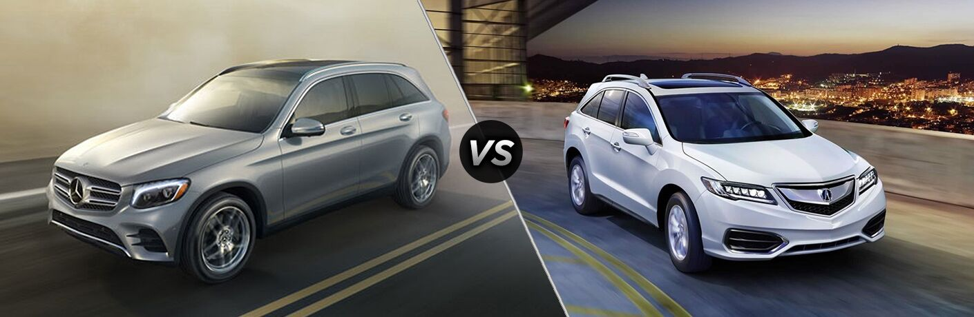 2018 GLC SUV in silver vs 2018 RDX in white
