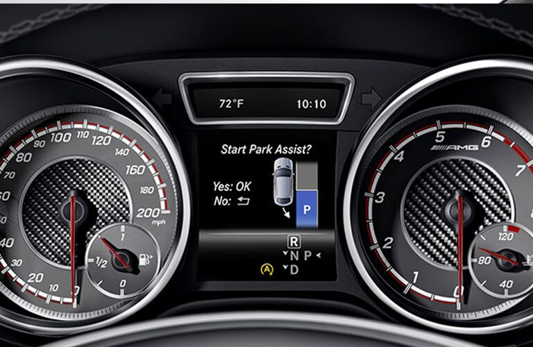 2018 Mercedes-Benz GLE interior close up of speedometer and park assist display