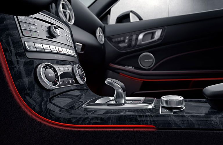 closeup view of dashboard buttons in 2018 Mercedes-Benz SLC Roadster