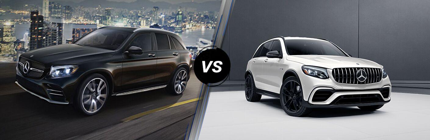 2018 Mercedes-Benz GLC Coupe 43 exterior front fascia and drivers side vs 2018 Mercedes-Benz GLC Coupe 63 exterior front fascia and passenger side