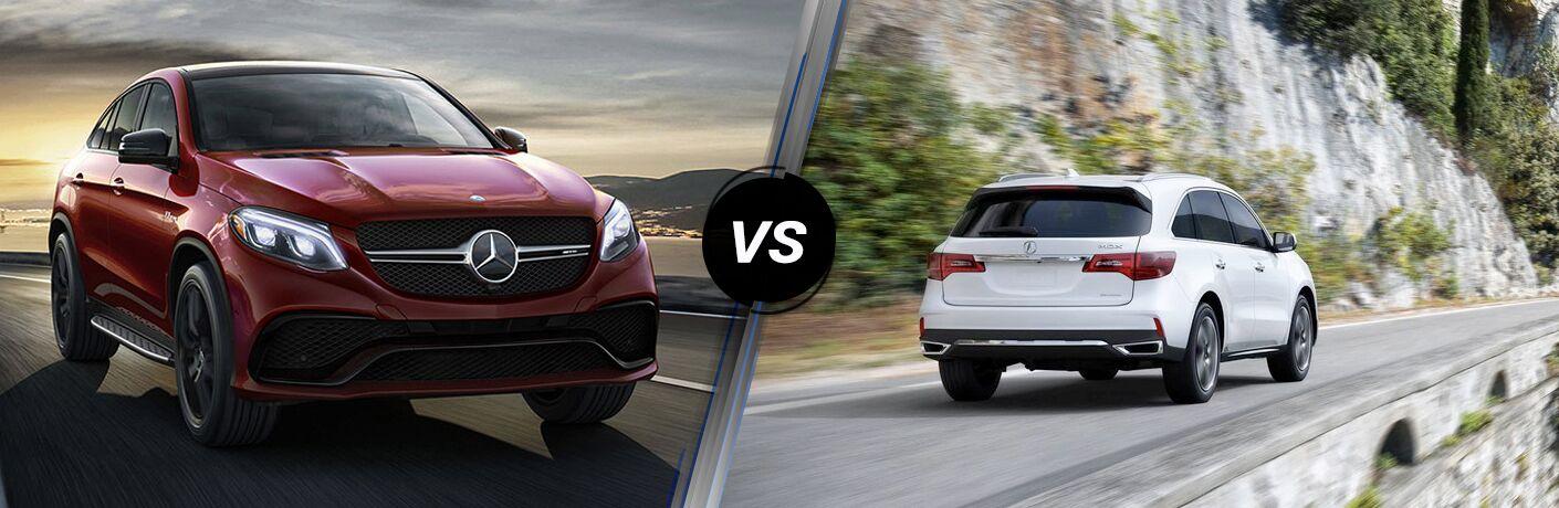 2018 Mercedes-Benz GLE in Red vs 2018 Acura MDX in White