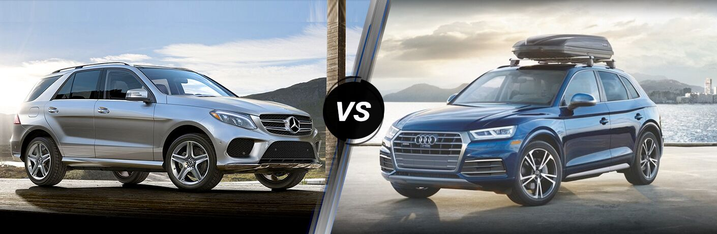 2018 Mercedes-Benz GLE exterior front fascia and passenger side vs 2018 Audi Q5 exterior front fascia and drivers side with cargo on top