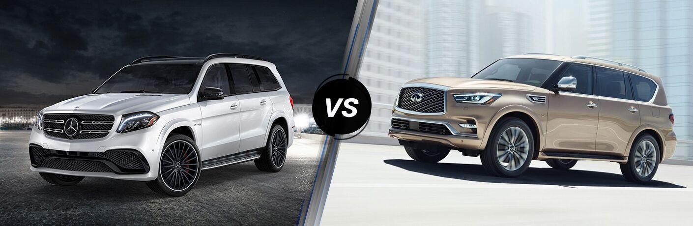 2018 GLS in white vs 2018 QX80 in gold
