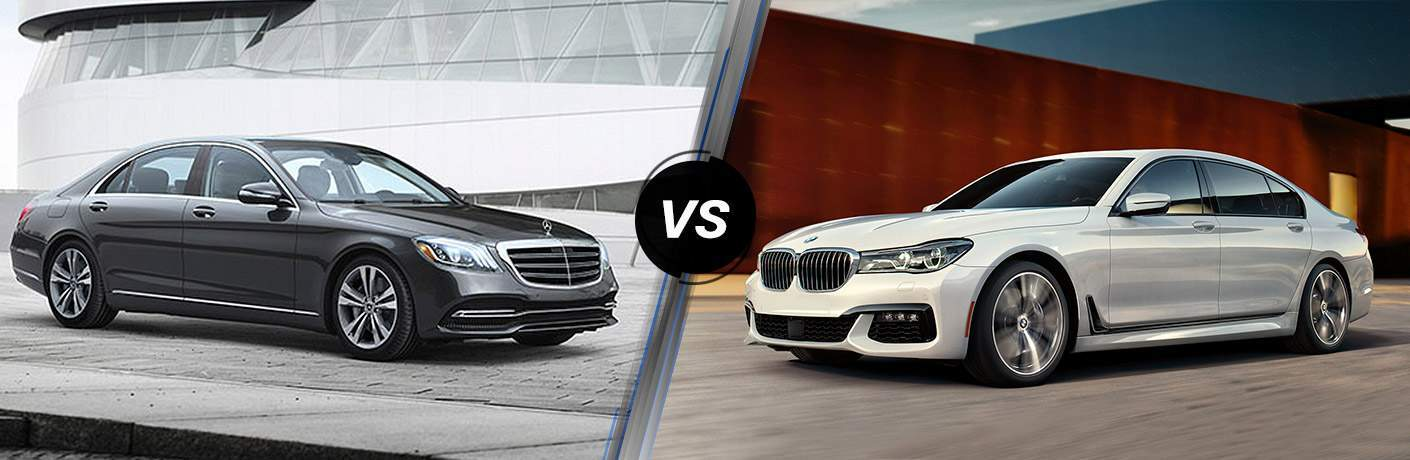 2018 S-Class Sedan in Grey vs 2018 BMW 7 Series in White