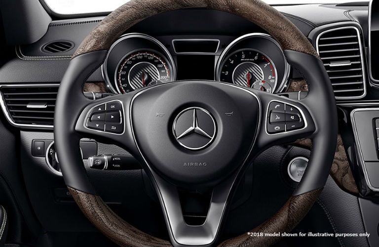 2018 MB AMG GLE 43 SUV interior close up of steering wheel