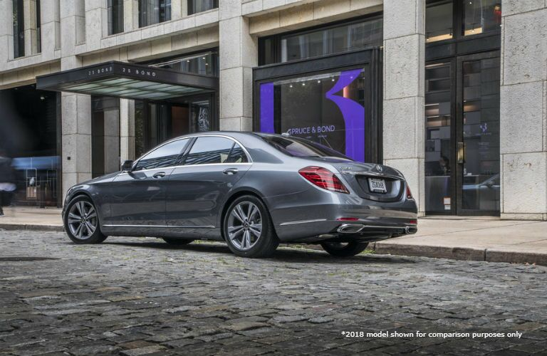 2018 MB S-Class exterior back fascia and drivers side parked on town road