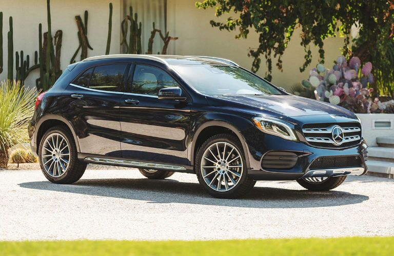 2019 GLA SUV in Blue - Side View