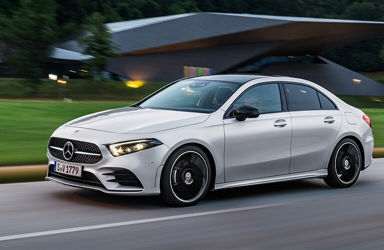 2019 MB A-Class exterior front fascia and drivers side going fast on blurred road