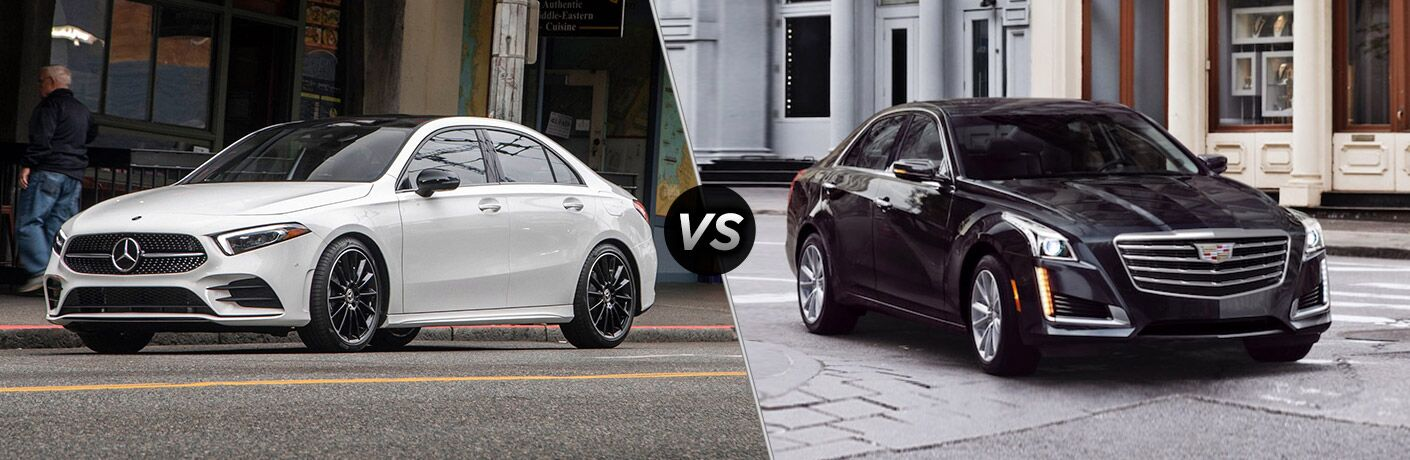 2019 MB A-Class exterior front fascia and drivers side vs 2019 Cadillac CTS exterior front fascia and passenger side
