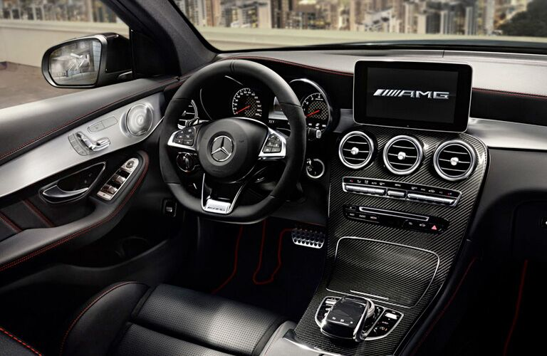2019 MB AMG GLC 43 interior front cabin steering wheel and partial dashboard