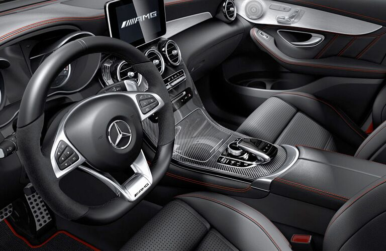 2019 MB AMG GLC 43 interior front cabin steering wheel and dashboard