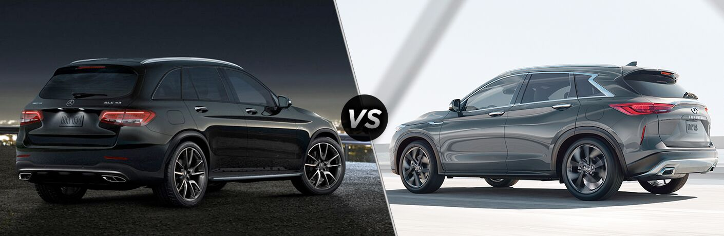 2019 MB AMG GLC 43 exterior back fascia and passenger side vs 2019 Infiniti QX50 exterior back fascia and drivers side