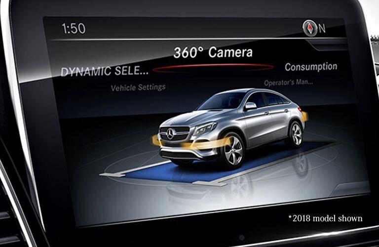 2019 MB AMG GLE 43 Coupe interior close up of 360 camera display