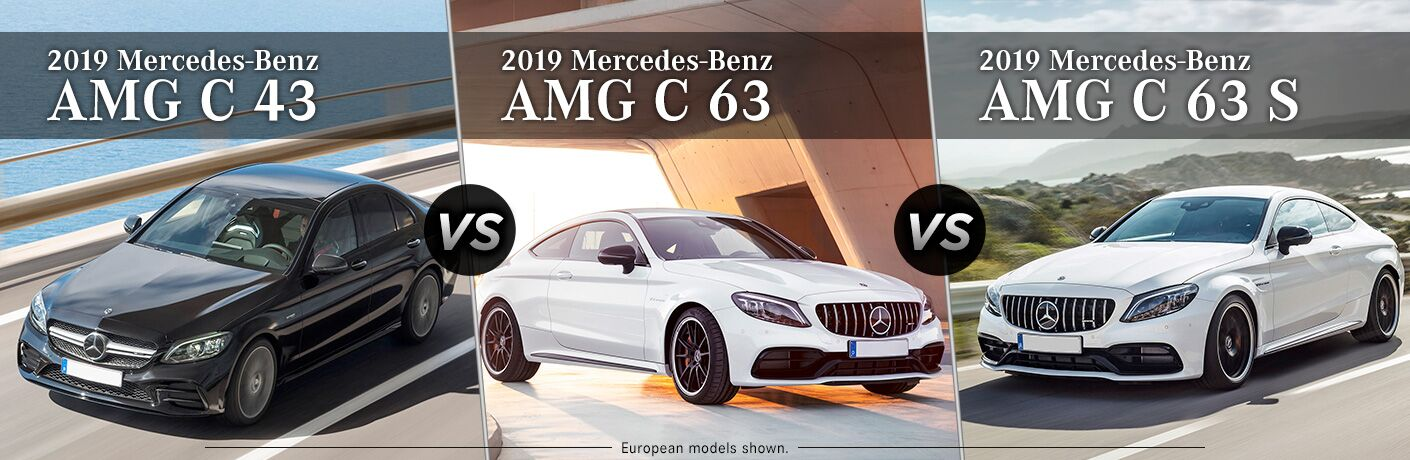 2019 MB AMG C 43 exterior front fascia and drivers side vs AMG C 63 exterior front fascia and passenger side vs 2019 AMG C 63 S exterior front fascia and drivers side