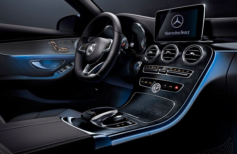2019 MB C-Class interior front cabin steering wheel and partial dashboard