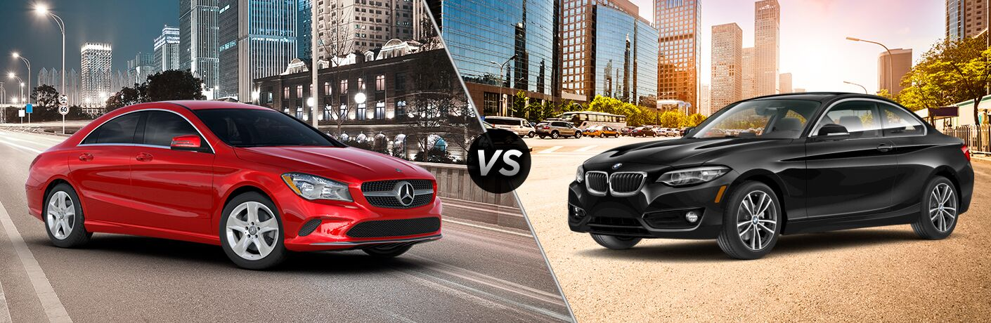 2018 MB CLA 250 exterior front fascia and passenger side in city vs 2018 BMW 230i exterior front fascia and drivers side in city