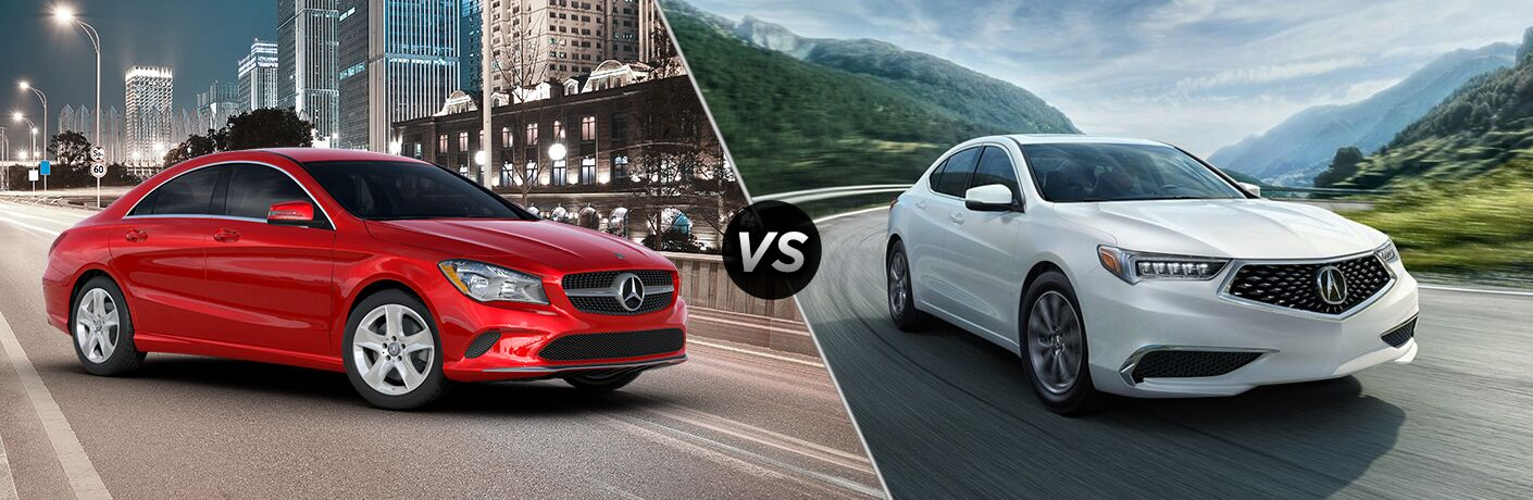 2019 CLA Coupe in red vs 2019 Acura TLX in white