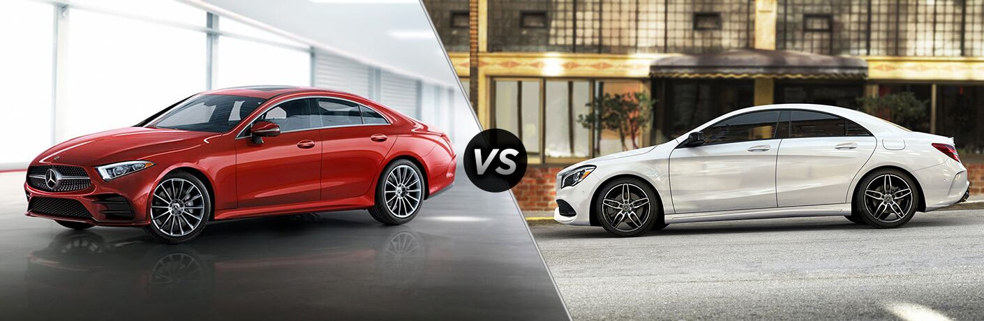 2019 MB CLS Coupe exterior front fascia and drivers side vs 2019 MB CLA Coupe exterior drivers side profile
