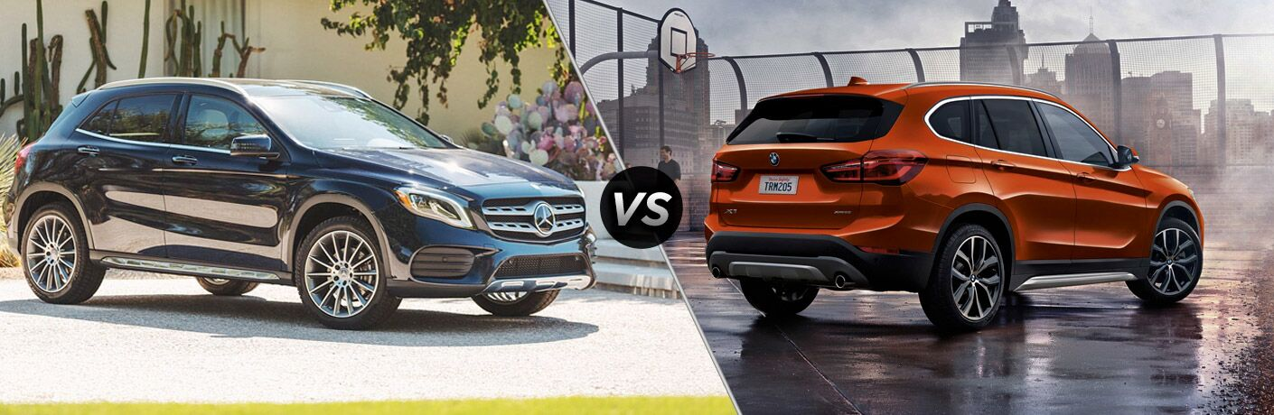 2019 MB GLA exterior front fascia and passenger side vs 2019 BMW X1 sDrive28i exterior back fascia and passenger side
