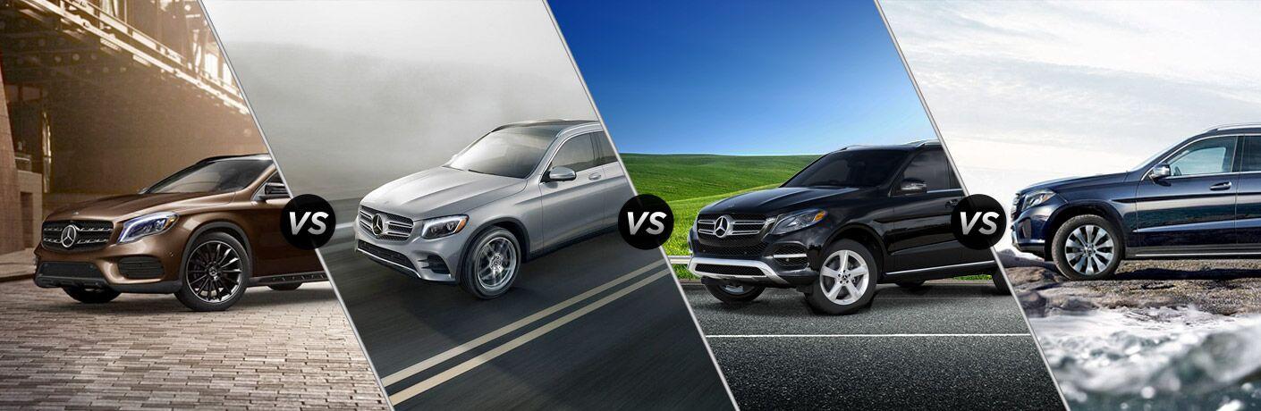 2019 MB GLA vs GLC vs GLE vs GLS exterior front fascia and passenger side