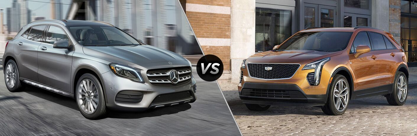 2019 MB GLA exterior front fascia and passenger side vs 2019 Cadillac XT4 exterior front fascia and drivers side