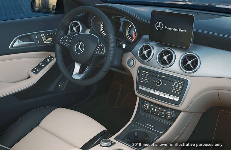2019 MB GLA interior front cabin steering wheel and partial dashboard