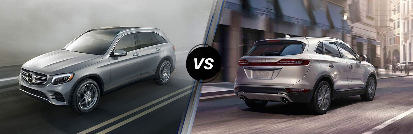 2019 MB GLC exterior front fascia and drivers side vs 2019 Lincoln MKC exterior back fascia and passenger side going fast on blurred road