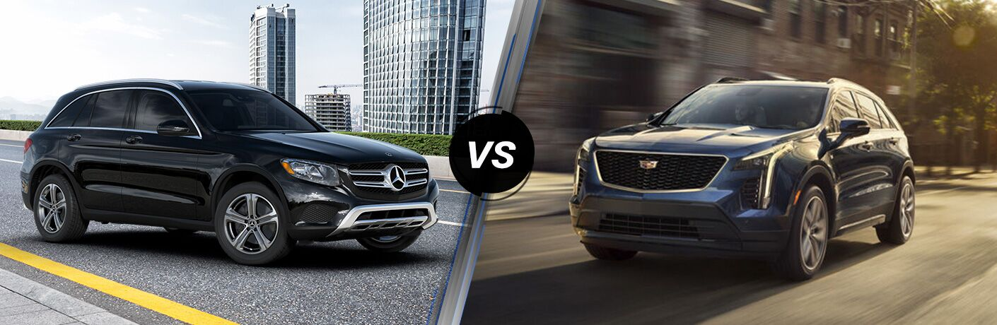 2019 MB GLC 300 exterior front fascia and passenger side vs 2019 Cadillac XT4 exterior front fascia and drivers side